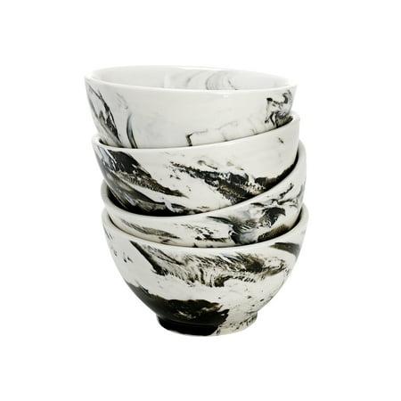 overandback Porcelain Marbled Rice Bowl, set of 4, Gray