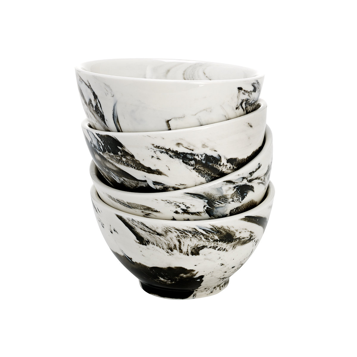 overandback Porcelain Marbled Rice Bowl, set of 4, Gray