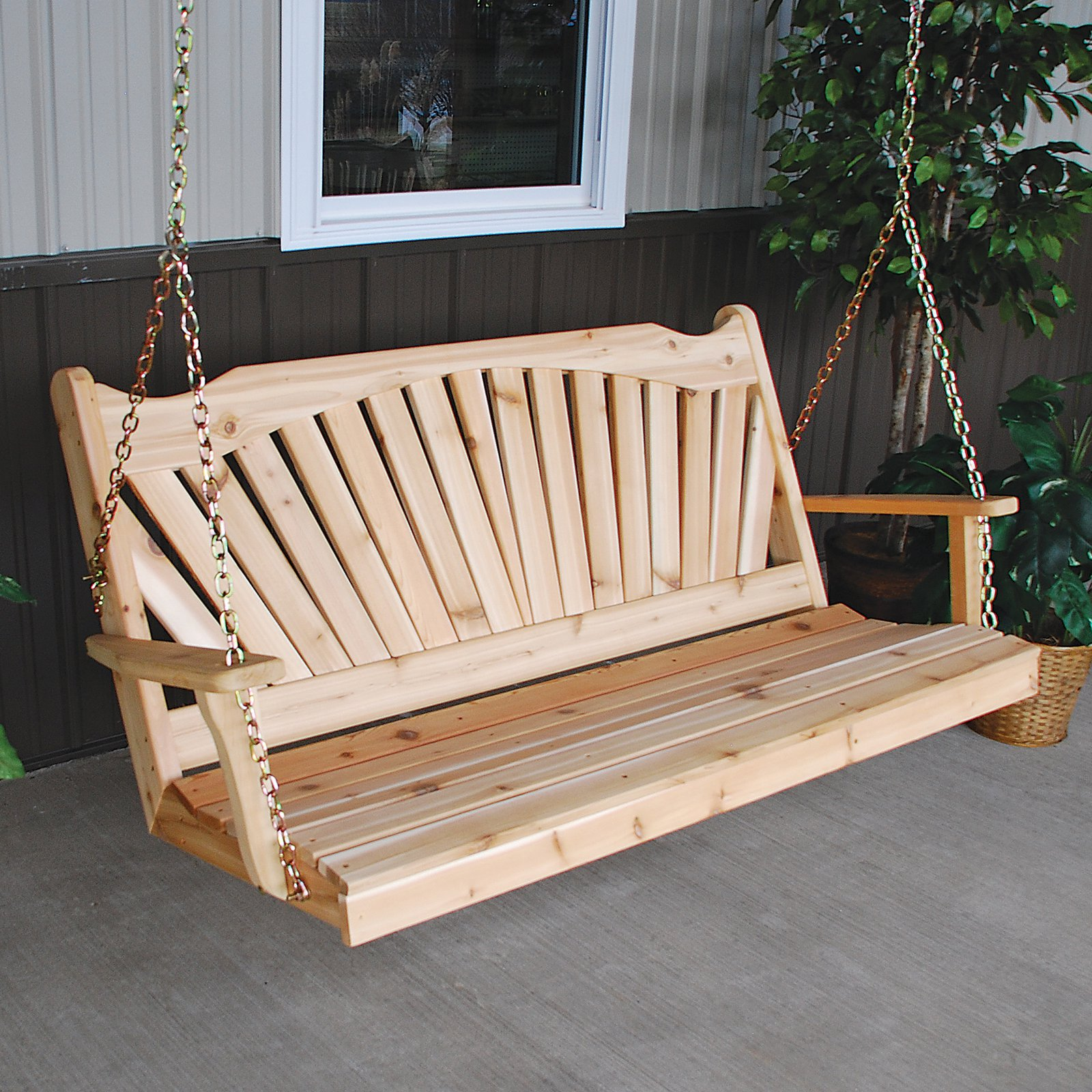 A & L Furniture Western Red Cedar Fanback Porch Swing