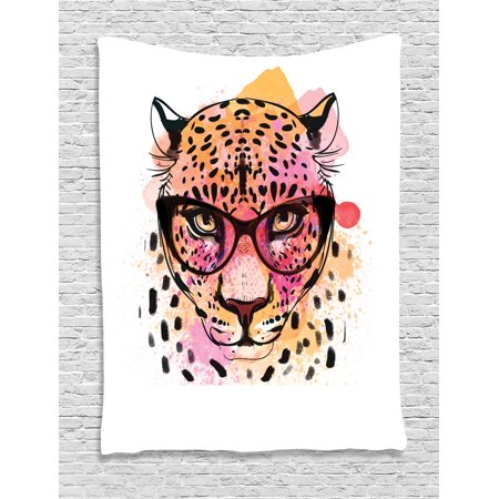 Painted Glass Wall (Fashion House Decor Tapestry, Watercolor Portrait of Leopard with Glasses Splashing Paint Style, Wall Hanging for Bedroom Living Room Dorm Decor, 40W X 60L Inches, Orange Pink, by Ambesonne)