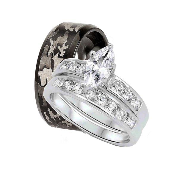 Laraso Co His Hers Matching Wedding Rings Camo Wedding Band