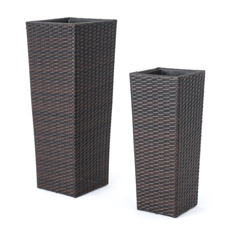 Eden Outdoor Wicker Flower Pots, Set of 2, Multibrown](Mini Flower Pots Bulk)