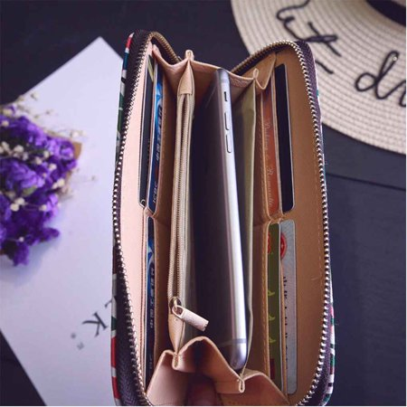 Vintage PU Leather Women Purse Wallets For Card Coin Print Zip Long Handbag Wallet
