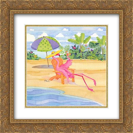 Beach Chair Flamingo 2X Matted 16X16 Gold Ornate Framed Art Print By Paul Brent