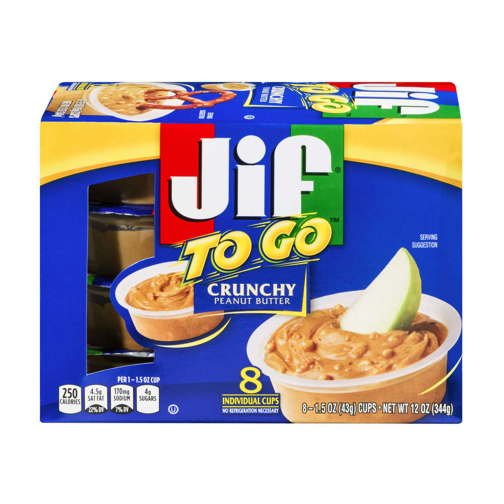 Jif To Go Natural Crunchy Peanut Butter Spread 1.5 oz, 8 count