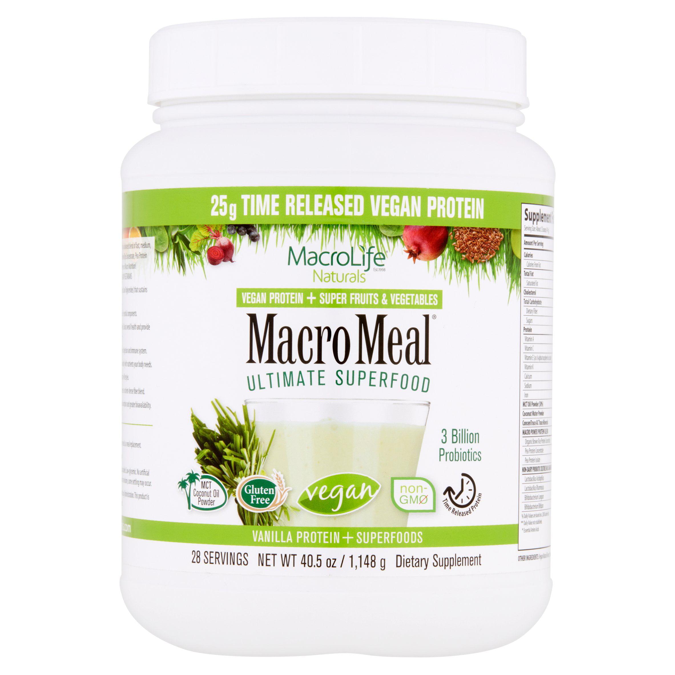 MacroLife Naturals MacroMeal Vegan Protein & Superfood Powder, Vanilla, 2.5 Lb