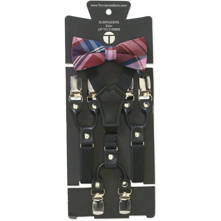 Genevieve Goings Collection Boys Red Plaid Bow Tie and Leather Suspenders 2 pc Set
