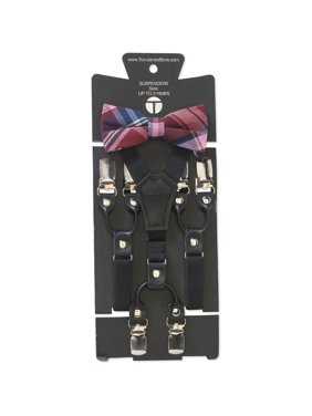 21585af10 Product Image Genevieve Goings Collection Boys Red Plaid Bow Tie and  Leather Suspenders 2 pc Set