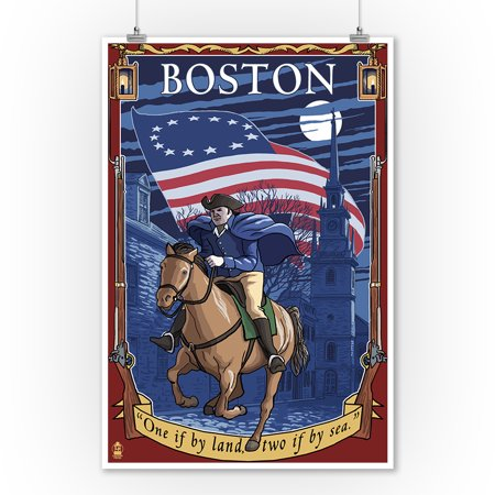 Boston, Massachusetts - Old North Church and Paul Revere - Lantern Press Artwork (9x12 Art Print, Wall Decor Travel Poster)