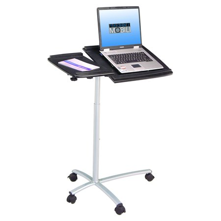 Techni Mobili Sit-to-Stand Rolling Adjustable Laptop Cart, Graphite (Adjustable Computer Carts)