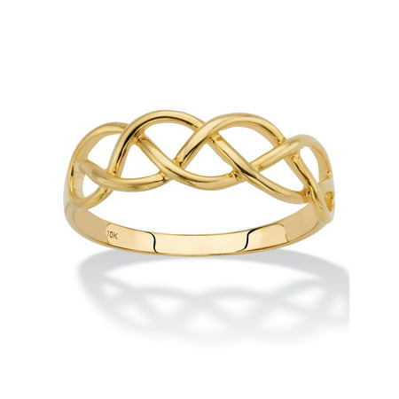 Solid 10k Yellow Gold Braided Twist Ring Holiday Gold Banded Fine China