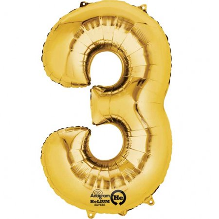Mayflower Distributing 62935 34 inch 3 GOLD NUMBER SHAPE BALLOON (Mayflower 3 Light)