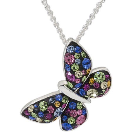 Rainbow Crystal Fine Silver-Tone Butterfly Pendant with Chain