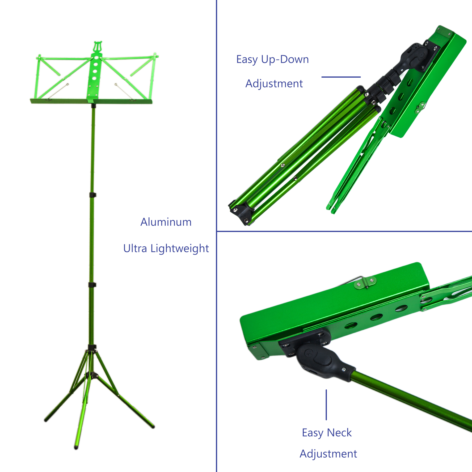 Paititi Brand New Strong Durable Adjustable Folding Music Stand with Carrying Bag-Green