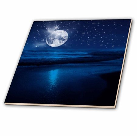- 3dRose Full moon shining in a starry sky on the beach where the ocean meets land. - Ceramic Tile, 4-inch