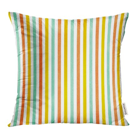 Classic Slipcovers Pillow - ARHOME Stripe Watercolor Yellow Seafoam Blue and Carrot Orange Striped Brush Classic Color Pillowcase Cushion Cover 20x20 inch