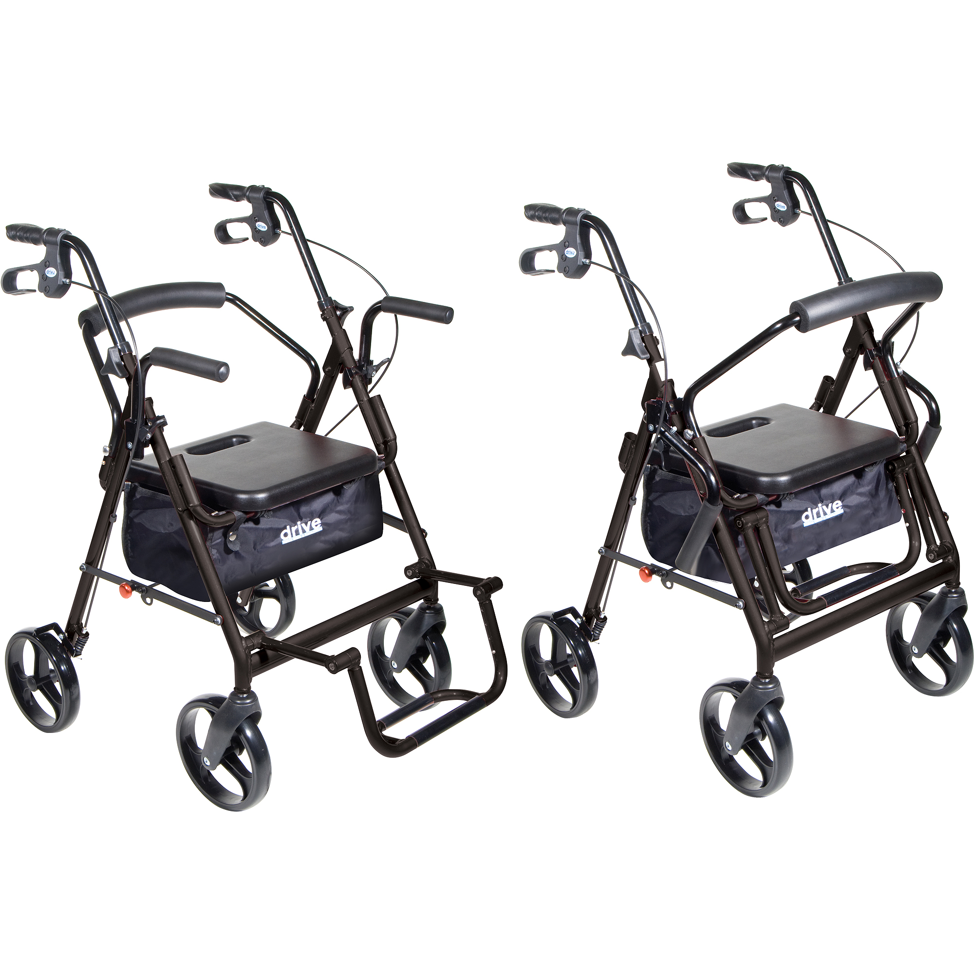 Drive Medical 795bk Duet Dual Function Transport Wheelchair Walker Rollator Black Com