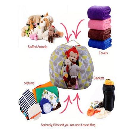 Kids Stuffed Animal Plush Toy Storage Bean Bag Soft Pouch