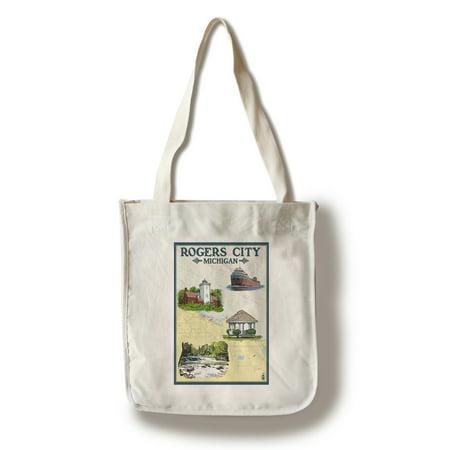 Rogers City, Michigan - Nautical Chart - Lantern Press Poster (100% Cotton Tote Bag - Reusable) - Nautical Bag
