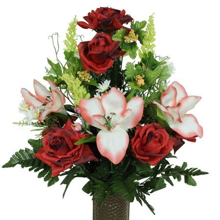 Red Open Roses with Amaryllis Artificial Bouquet, featuring the Stay-In-The-Vase Design(c) Flower Holder (MD1454) Fresh Flower Holders