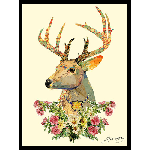 Empire Art Direct Mrs. Deer Dimensional Collage Hand Signed by Alex Zeng Framed Graphic Art