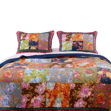"Barefoot Bungalow Desiree Patchwork Colorful Floral Splendor Sham - King 20x36"", Multicolor"