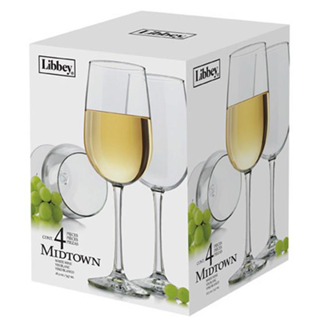 Libbey Glass 7504S4 Midtown 4 Piece White Wine Glass Set