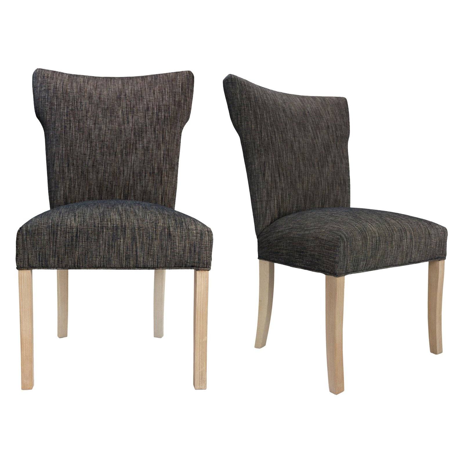 Sole Designs Bella Collection Upholstered Wing Back Armless Dining Side Chair with Natural Legs and Spring Seating - Set of 2