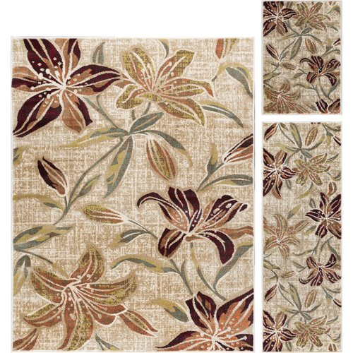 Red Barrel Studio Highpoint Lily Transitional 3 Piece Cream Area Rug Set