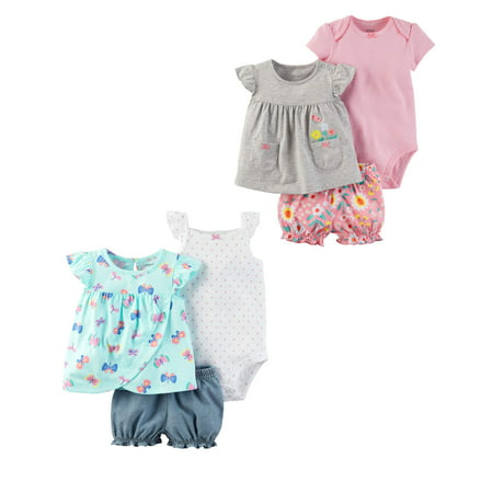 fea2619c0 Carter's - Baby Girl Dress, Shorts & Bodysuit 6pc Outfit Set - Walmart.com