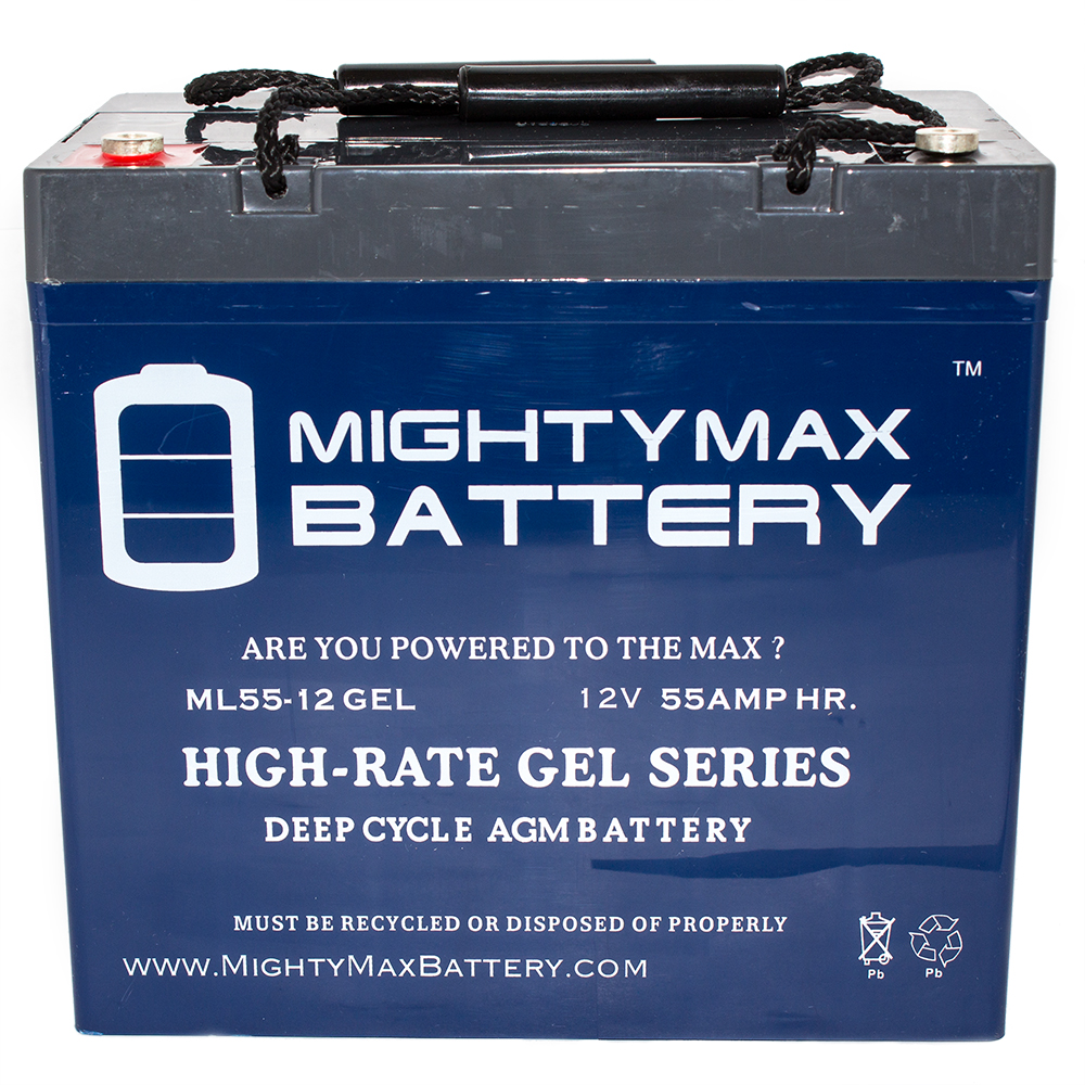 12V 55AH GEL Battery for Merits P200-MP2 Travel Ease Whee...
