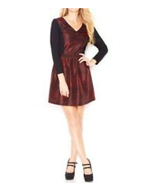 kensie womens poppy red black printed v neck long sleeve dress l