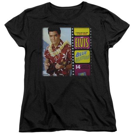 Elvis Blue Hawaii Album S S Womens Tee Black   Elv663