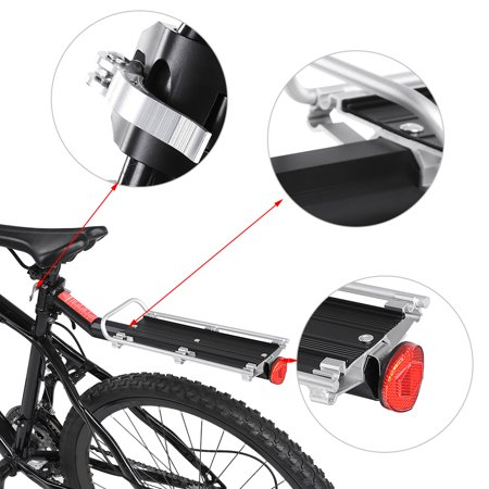 Ejoyous Mountain Bike Bicycle Carrier Rack Seat Post Rear Shelf Aluminum Alloy Black, Bicycle Seat, Bike Shelf - image 6 of 8