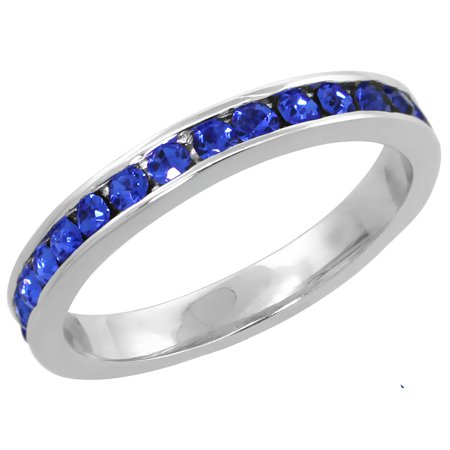 Movement Jewellery Clasp Sapphire Crystal (Sterling Silver Stackable Eternity Band, September Birthstone, Sapphire Crystals, 1/8