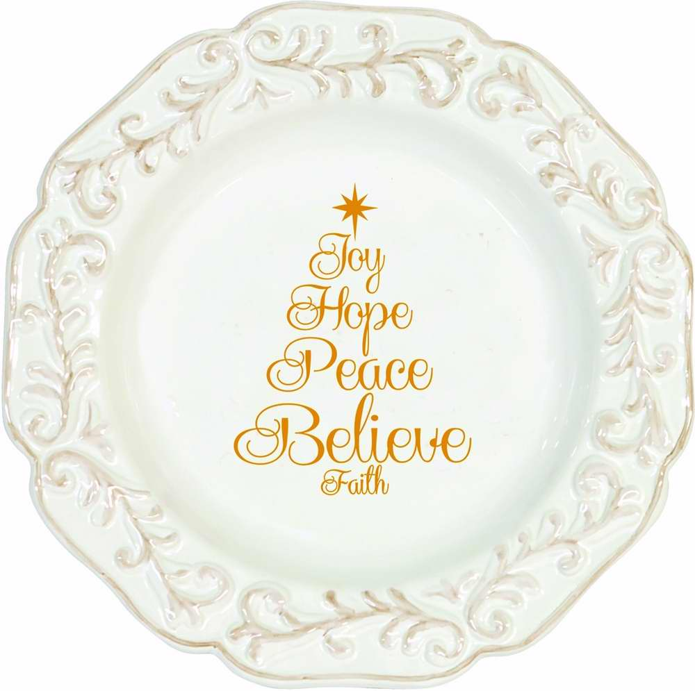 Plate - C-Joy Hope Peace Believe - 8 inch Round