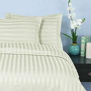 "Elegant Comfort® Wrinkle & Fade Resistant 1500 Thread Count - Damask STRIPES Silky Soft 4-Piece Sheet Set, Up To 16"" Deep Pocket, Queen, Ivory"