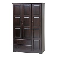 100% Solid Wood Grand Wardrobe 5696 by Palace Imports, Java Color