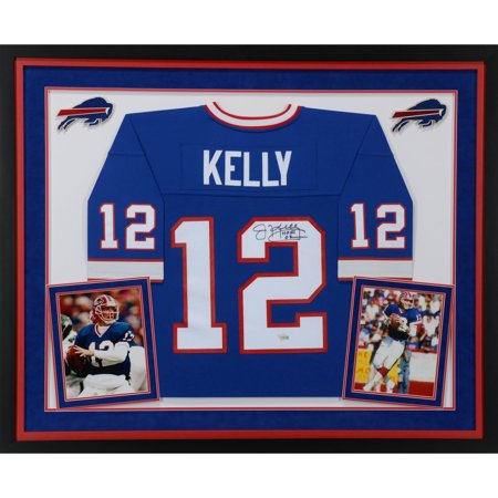 "Jim Kelly Buffalo Bills Deluxe Framed Autographed Mitchell & Ness Blue Replica Jersey with ""HOF 02"" Inscription - Fanatics Authentic Certified"