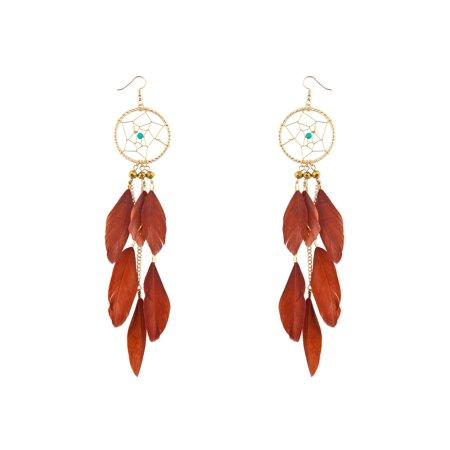 Lux Accessories Gold Tone Boho Dreamcatchers Brown Feathers Chic Stud Earrings - Dreamcatcher Earrings