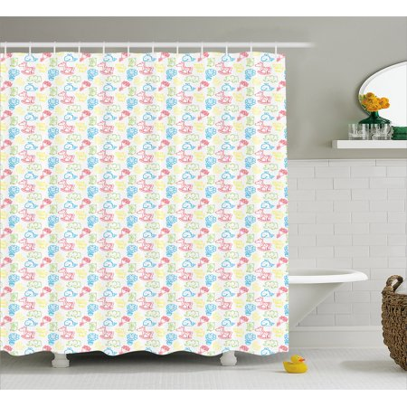 Baby Shower Curtain Doodle Style Drawings Toy Horse Teddy Bear