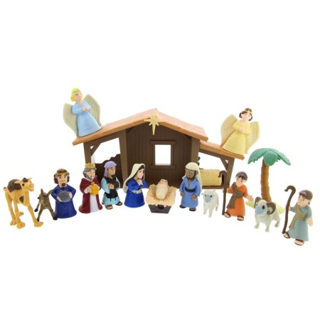 Tales of Glory Nativity Set by BibleToys - Interactive Figures Great for Children, Sunday School, Holiday Decoration, Christmas Gifts, New Traditions, w/ Scripture Speaking Mary, 17 Pieces - Child Nativity Set