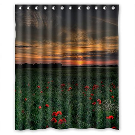 HelloDecor Red Flower Green Gras Sunset Shower Curtain Polyester Fabric Bathroom Decorative Size 60x72 Inches