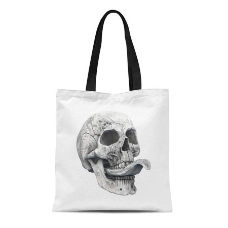 KDAGR Canvas Tote Bag Human Skull on Rich Colors Death Horror Symbol Reusable Shoulder Grocery Shopping Bags Handbag