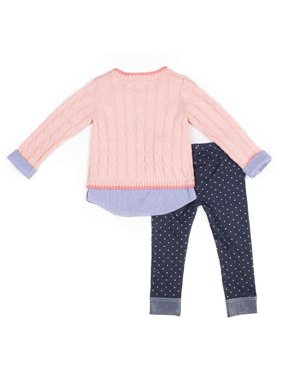 Little Lass Chenille Mock Layered Sweater and Polka Dot Denim Leggings, 2pc Outfit Set (Baby Girls & Toddler Girls)