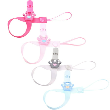 Outgeek 4Pcs Pacifier Clips Cute Crown Pacifier Holders Teething Ring Holders for Baby Shower Gift