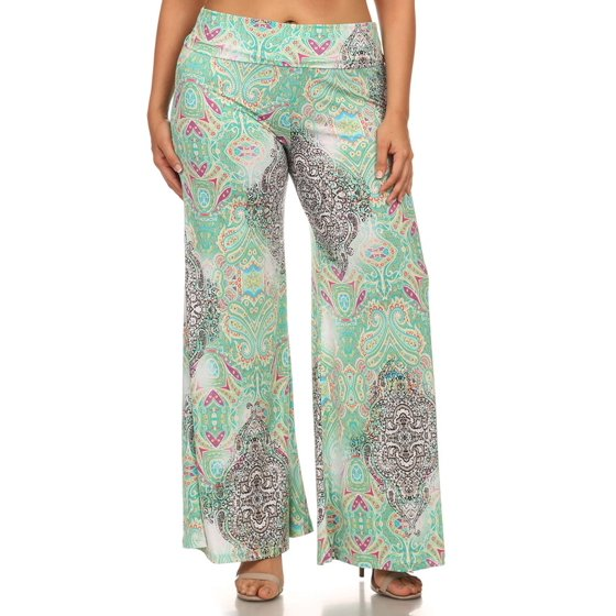 507442100cb3a2 MOA USA - Women's PLUS trendy print , full length flare pants. - Walmart.com