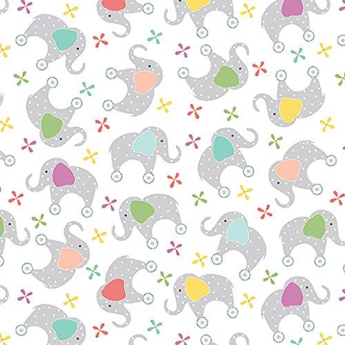 My Little Sunshine~My Little Elephant/White Cotton Fabric by Benartex