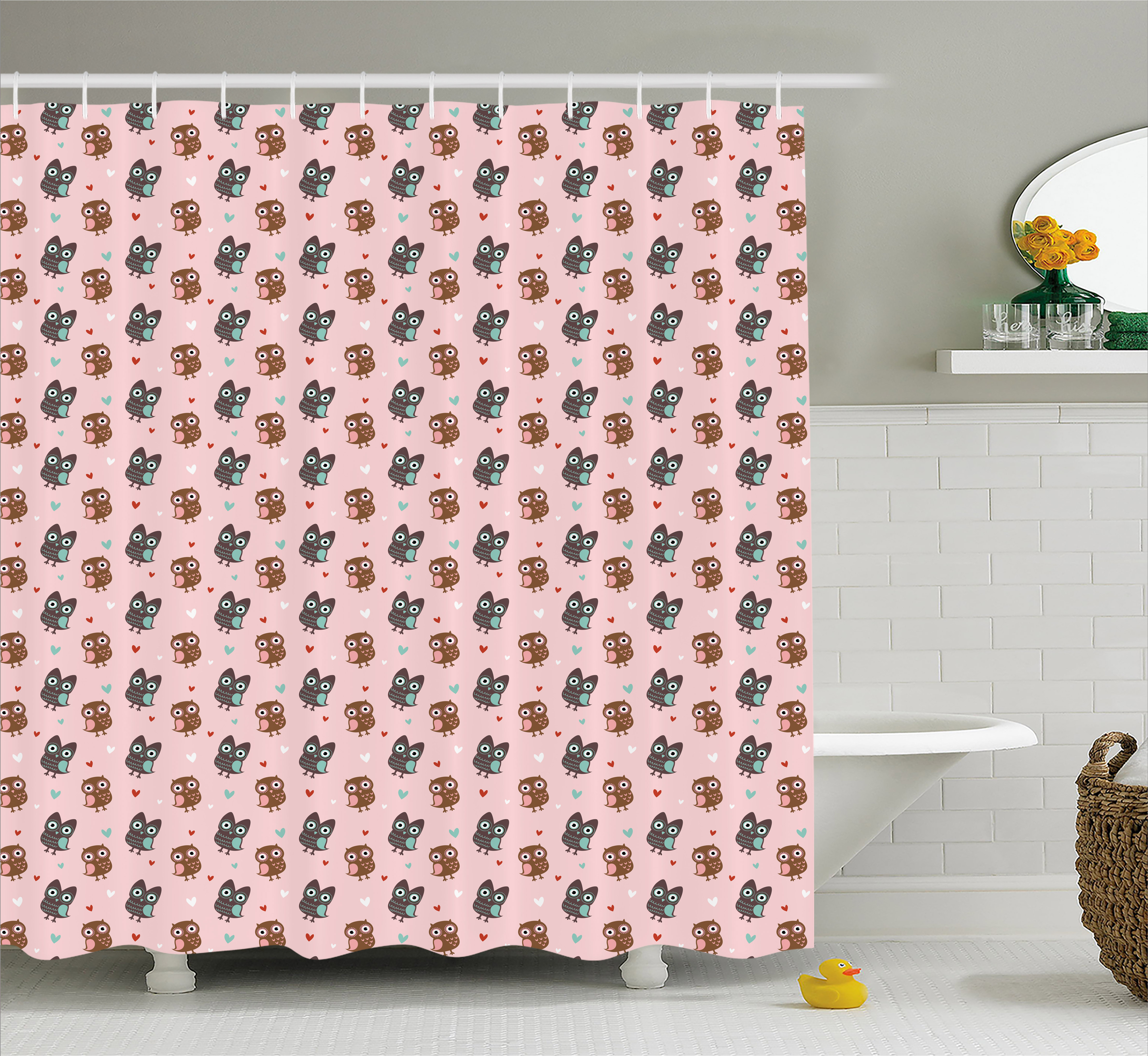 Owls Shower Curtain Valentine S Day Inspired Romantic