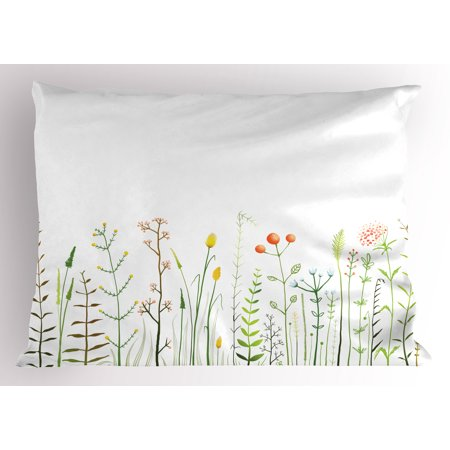 Green Flower Pillow Sham Grass Pattern Nature Illustration Wildlife Scene Rustic Lifestyle Elements, Decorative Standard Size Printed Pillowcase, 26 X 20 Inches, Multicolor, by Ambesonne